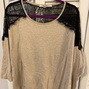 LC Lauren Conrad black lace and tan shirt